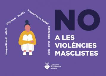 frases que fan una casa i dona dins axupida. frase: no a les violències masclistes