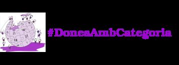 logo vikipedia lila amb dones construint-lo i el lema