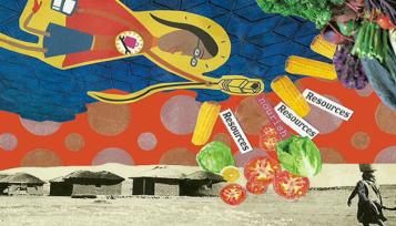 collage mujer tecnologa pidiendo recursos a aldea