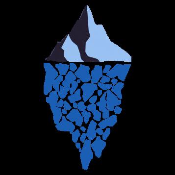 logo con montaña arriba y abajo un reflejo suyo con fragmentos