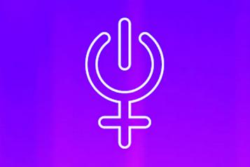 logo: símbolo feminista con el círculo del botón de arrancar un ordenador