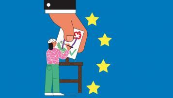mano controlando pintor con estrellas de la UE
