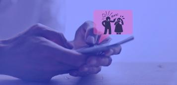 mans amb mòbil i dibuix d'homa insultant dona